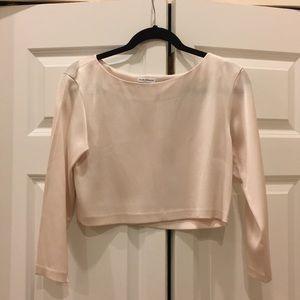 Pink silk crop top